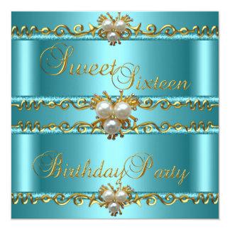 Sweet 16 16th Elegant Teal Gold Pearl Jewel Card