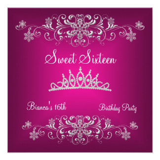 Sweet 16 16th Pink Silver Diamond Tiara Personalized Invites
