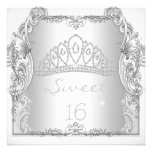Sweet 16 16th SWEET SIXTEEN White Tiara Birthday Personalized Invitations