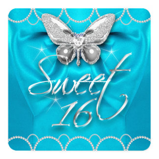 Sweet 16 16th Teal Blue Butterfly Pearl Party Card