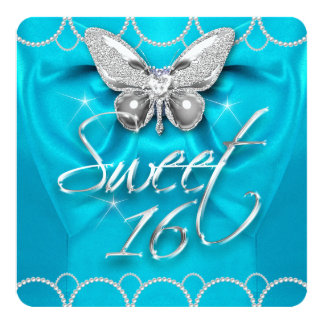Sweet 16 16th Teal Blue Butterfly Pearl Party Custom Invites