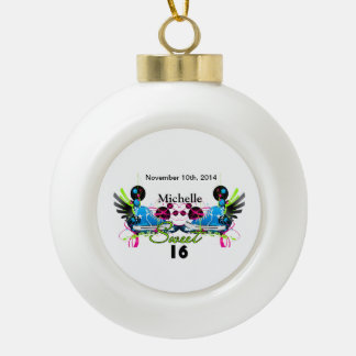 Sweet 16 80's Neon Sneakers Name Date Ceramic Ball Christmas Ornament
