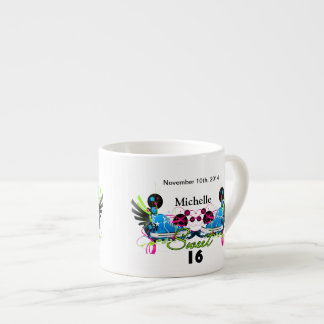 Sweet 16 80's Neon Sneakers Name Date Espresso Cup