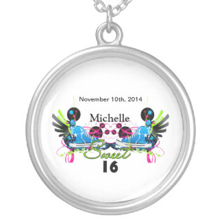 Sweet 16 80's Neon Sneakers Name Date Silver Plated Necklace