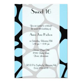 Sweet 16 - Animal Print, Giraffe - Blue Black Custom Invites