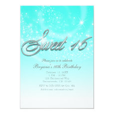 SWEET 16 Aqua Blue & Silver Sparkle Stars Party Card