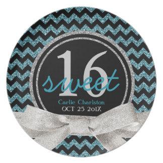 Sweet 16 Aqua Chevron Pattern Plates