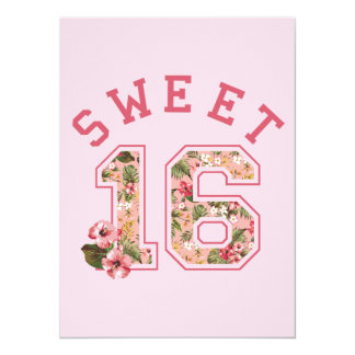 Sweet 16 Athletic Pink Floral Card