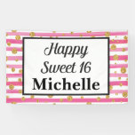 Hand shaped Sweet 16 Banner - Pink Stripes and Gold Glitter