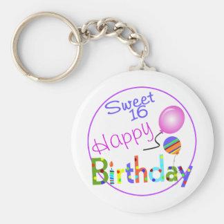 Sweet 16 basic round button keychain