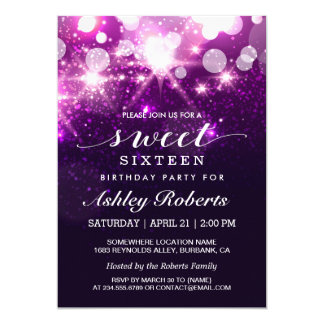 Sweet 16 Bday Party Trendy Purple Glitter Sparkles Card