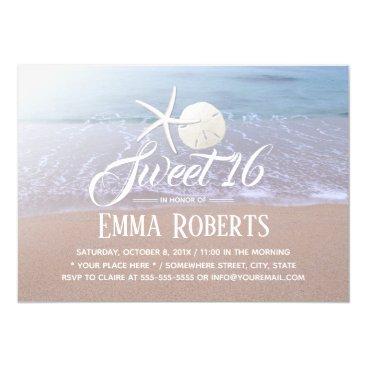 Sweet 16 Beach Theme Starfish & Sand Dollar Card