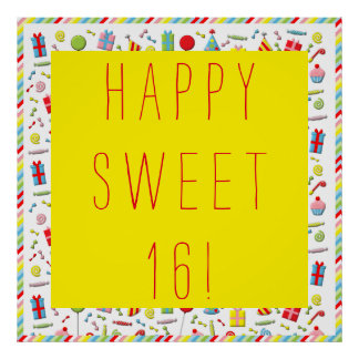 """Sweet 16"" birthday banner Posters"