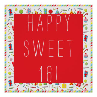 """Sweet 16"" birthday banner Poster"