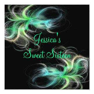 Sweet 16 Birthday Black & Blue Green Swirls Card