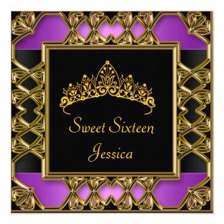 Sweet 16 Birthday Black Purple Gold Tiara 5.25x5.25 Square Paper Invitation Card
