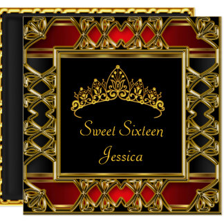 Sweet 16 Birthday Black Red Gold Tiara Card