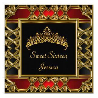 Sweet 16 Birthday Black Red Gold Tiara Custom Invites