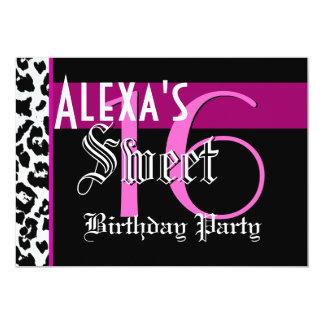 Sweet 16 Birthday Black White Leopard Pink G801 5x7 Paper Invitation Card