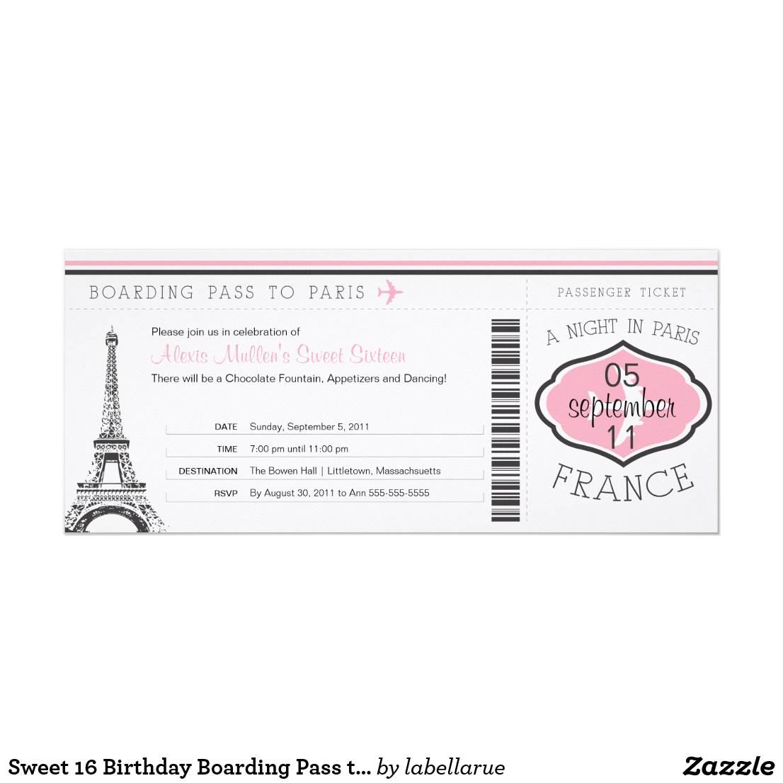 Sweet 16 Birthday Boarding Pass to Paris Invitation