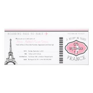 Sweet 16 Birthday Boarding Pass to Paris Invitation