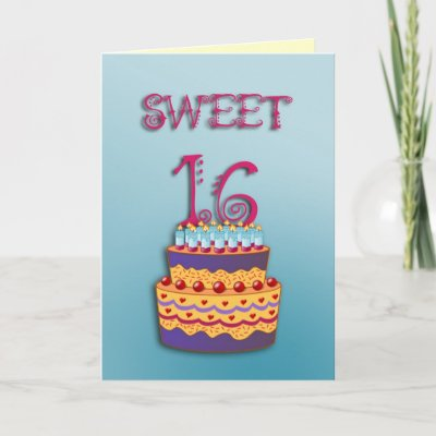 whimsical Sweet 16 Birthday card. You may CUSTOMIZE the
