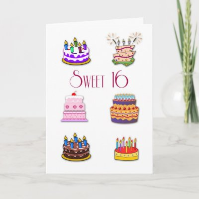 Sweet 16 Birthday Cakes Greeting Cards from Zazzle.com