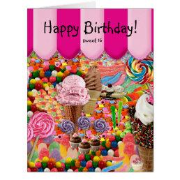 Sweet 16 Birthday Candy Ice Cream Fun Pink Card
