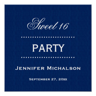 Sweet 16 Birthday Classic Blue and White A06 Poster