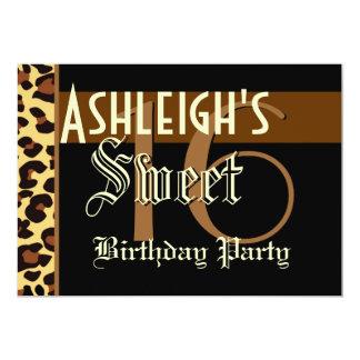 Sweet 16 Birthday Custom Template - Leopard  Print 5x7 Paper Invitation Card