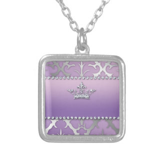 Sweet 16 Birthday Damask Baby Shower Crown Necklace