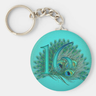 sweet 16 birthday decorated age number keychain