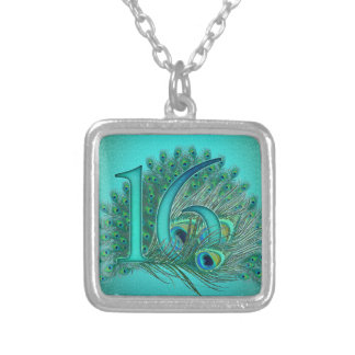 sweet 16 birthday decorated age number silver plated necklace