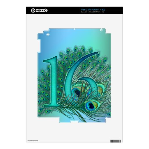 sweet 16 birthday decorated age number decal for iPad 2