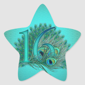 sweet 16 birthday decorated age number star sticker