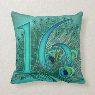 sweet 16 birthday decorated age number throw pillow