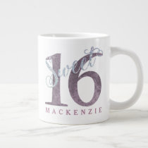 Sweet 16 Birthday Dusty Mauve Pink Purple Large Coffee Mug