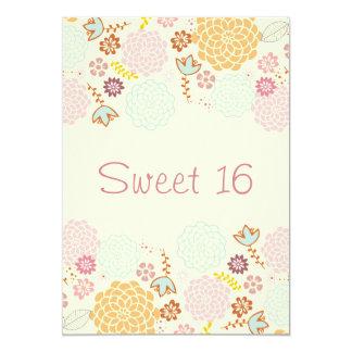 """Sweet 16 Birthday Fancy Modern Floral 5"""" X 7"""" Invitation Card"""