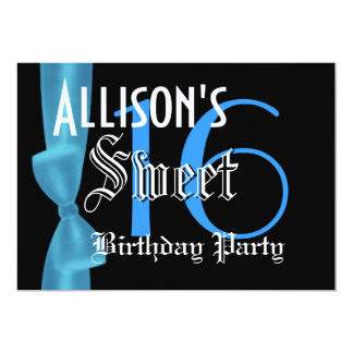 Sweet 16 Birthday  Faux Blue Bow 5x7 Paper Invitation Card