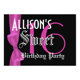 Sweet 16 Birthday  Faux Fuchsia Pink Bow 5x7 Paper Invitation Card