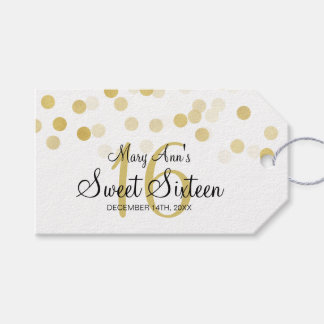 Sweet 16 Birthday Faux Gold Foil Glitter Lights Gift Tags