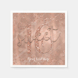 Sweet 16 Birthday Faux Rose Gold Glitter Party Napkin