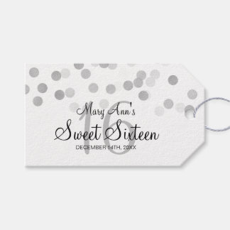Sweet 16 Birthday Faux Silver Foil Glitter Lights Gift Tags