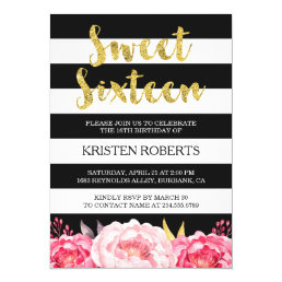 Sweet 16 Birthday Floral Gold Black White Stripes Card