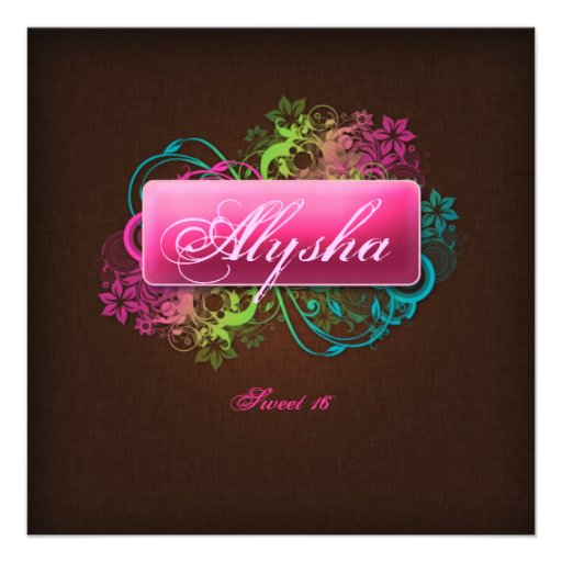 Sweet 16 Birthday Floral Pink Brown Linen Personalized Invite