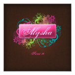 Sweet 16 Birthday Floral Pink Brown Linen 5.25x5.25 Square Paper Invitation Card