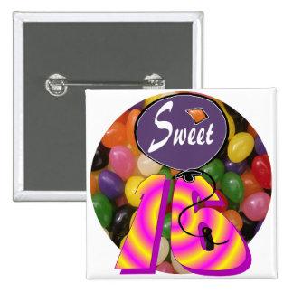 Sweet 16 Birthday Gear Pinback Button