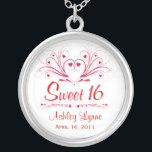 """Sweet 16 Birthday Gift - Sweeheart Necklace<br><div class=""""desc"""">Sweet 16th Birthday - Contemporary Sweetheart design in red and white.  Personalize this charming necklace with the Sweet 16 birthday girl&#39;s name and birthdate.  Set in beautiful sterling silver square pendant.  Makes a unique gift that your sweet and special girl will cherish for a lifetime.</div>"""