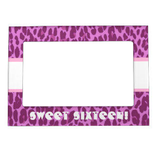 sweet 16 birthday girly pink leopard a11 magnetic photo frame