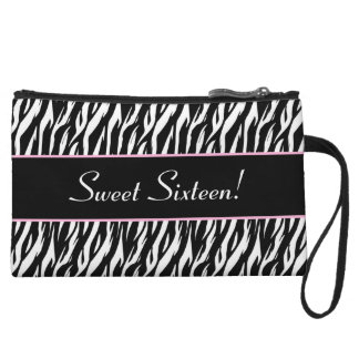 Sweet 16 Birthday Girly Zebra A28 Wristlet Wallet